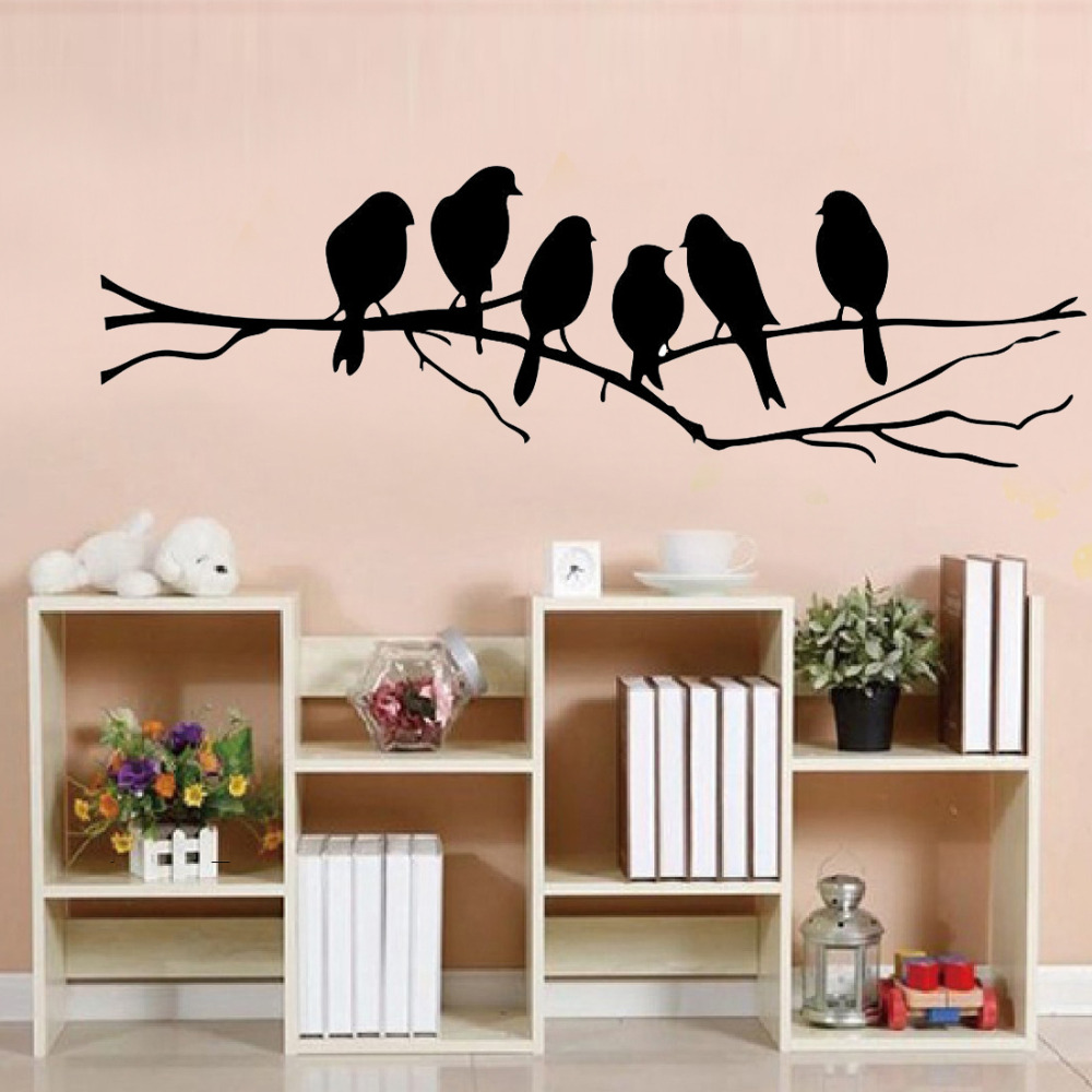 85 26cm diy wall stickers decal removable black bird tree for Diy wall photo mural