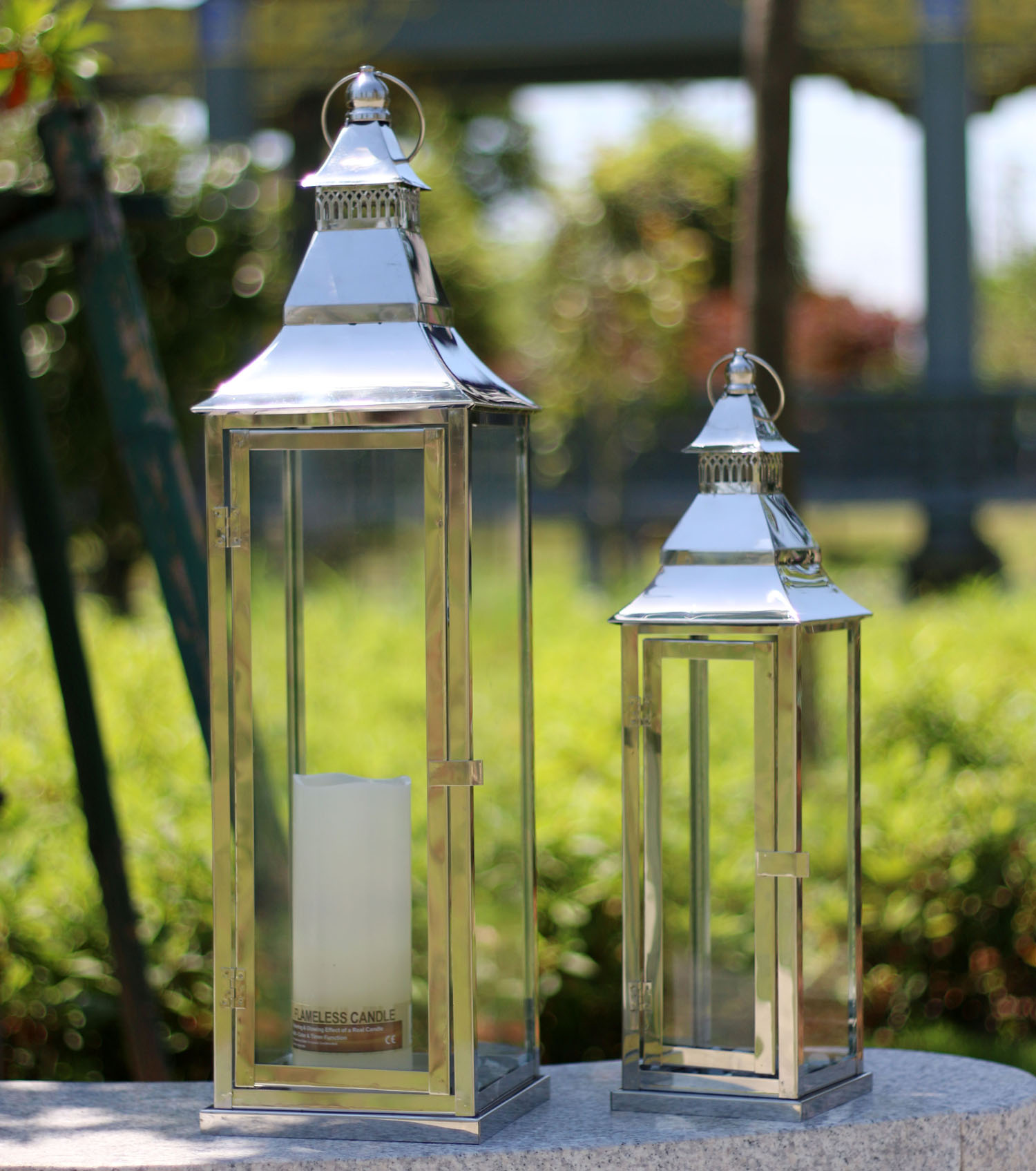 Thick ! Candlestick European minimalist classic stainless steel portable glass lantern Home Decoration Hotels(China (Mainland))