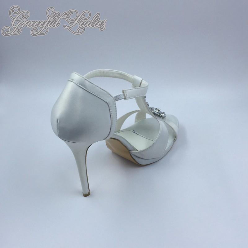 Elegant White Satin Women Sandals T-strap Rhinestones Open Toe Ladies Shoes Sandal 5inc High Heels Stilettos US5 Platform Sandal