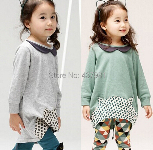 Hot sale!New style girls Long sleeve Two Piece Set Princess round collar outfit(/lot)