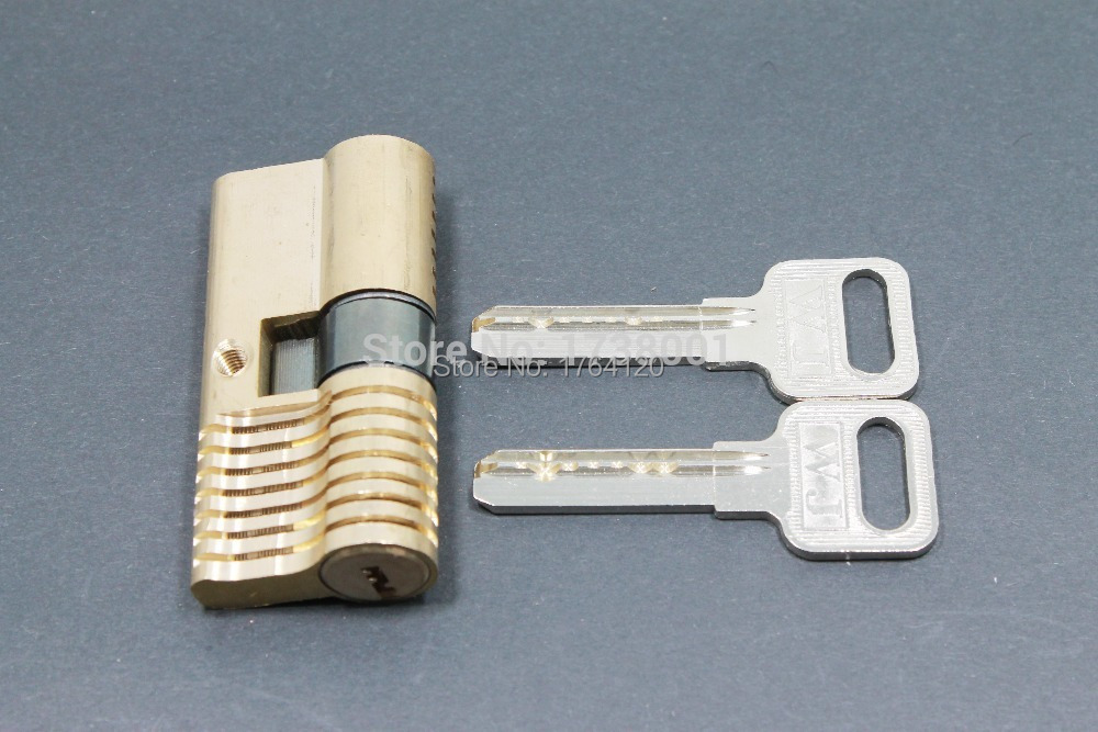 NEW Cutaway Practice 7 Pins Brass Both End Lock Quick Open Practice Lock With Keys Locksmith Tools(China (Mainland))