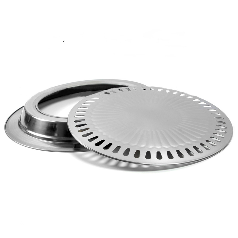 Barbecue BBQ Plate Non-stick Gas Grill Pan Refined Stainless Steel for Healthy Smokeless Roasting Outdoor Cooking Tool(China (Mainland))