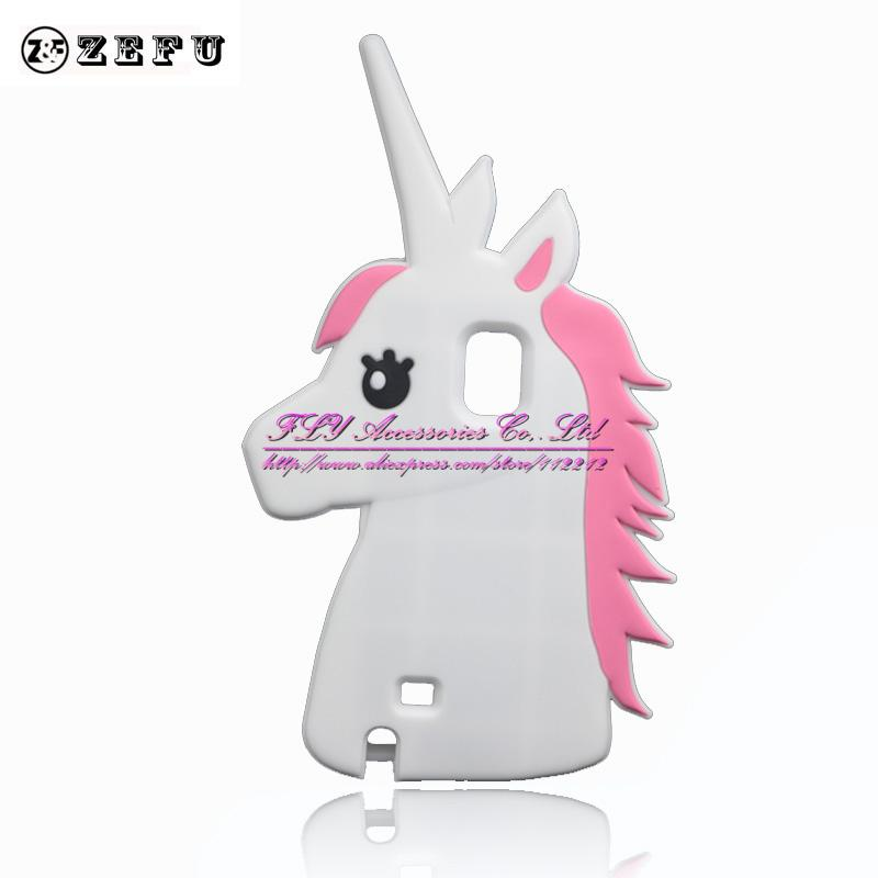 Fashion 3D Cute Cartoon Unicorn Soft Case Samsung Galaxy Note 4 IV N9108 N9100 Silicone White Horse  -  Shenzhen FLY Accessories Co,.Ltd store