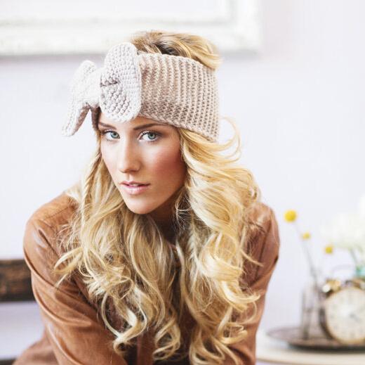 Retail 1pcs Crochet Bow Knitted Headwrap Headband Ear Warmer Hair Muffs Band Winter(China (Mainland))