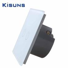 Nueva Crystal Wall Glass Panel interruptor estándar de la ue 110 ~ 250 V interruptor del tacto pantalla de pared Light Switch 2 gang 1 way blanco marca kisuns(China (Mainland))