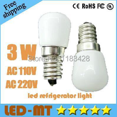 x5pcs Free shipping High Power CREE refrigerator light 3W AC110V 220V E14 LED light Lamp 360 Beam Angle Bulb warranty 2 years(China (Mainland))