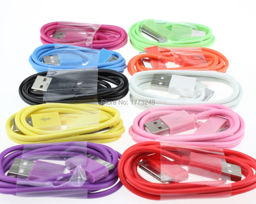 500pcs 10 color 1m 3ft  USB Sync Data Charging Charger Cable Cord for  iPhone 3GS 4 4S 4G for iPad 2 3 iPod nano touch Adapter