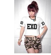 Kpop EXO 2016 summer new star T-shirt short section of round neck T-shirt k-pop EXO KRIS black white dress shirts Tops layer