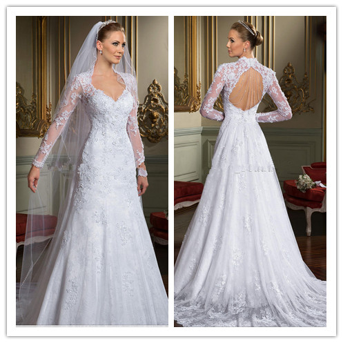 Lace Wedding Dress Open Back Sleeves