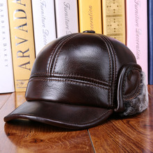 Winter Warm Thick Duckbill Caps For Men Genuine Cowhide Leather Baseball Cap With Warm Earmuffs Velvet Quilted Berets Hats(China (Mainland))