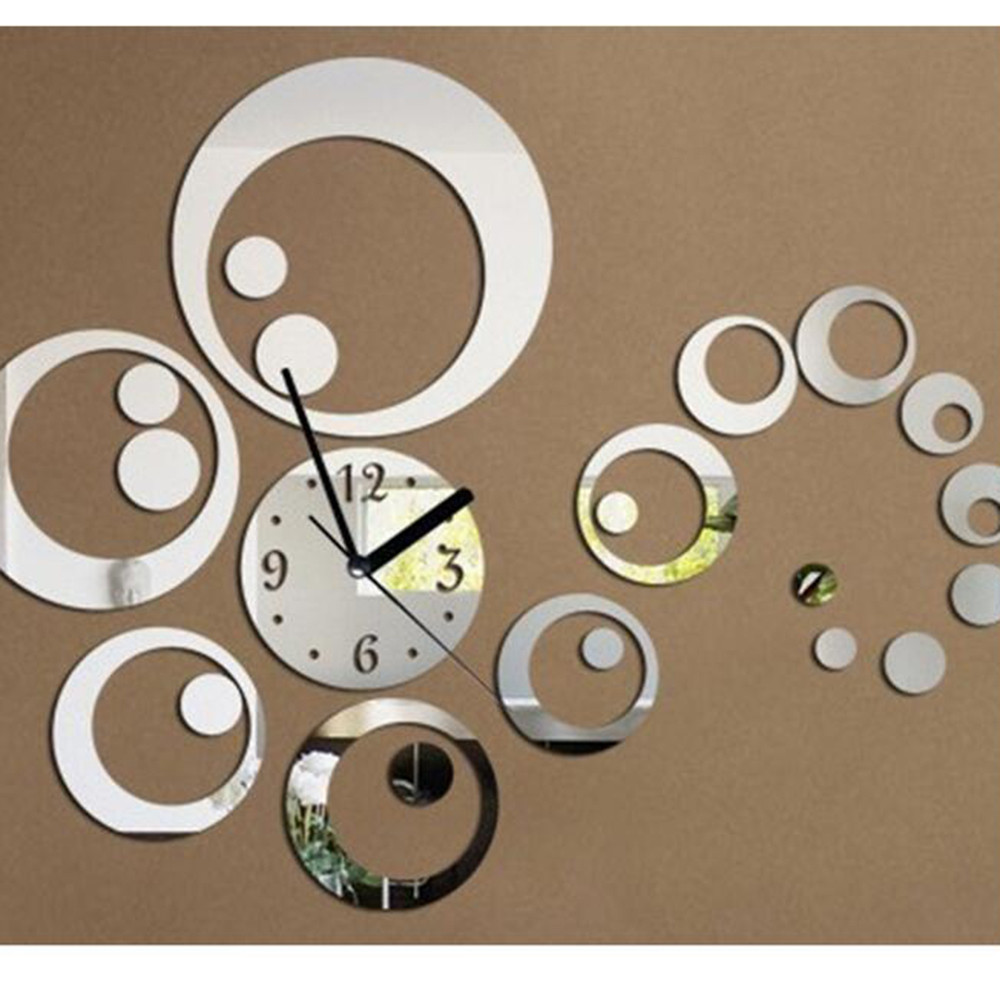 1Set Hot DIY Home Decoration Round Mirror Surface Of The Mirror Wall Stickers Clock Living Room Wall Clock 2 Colors New(China (Mainland))