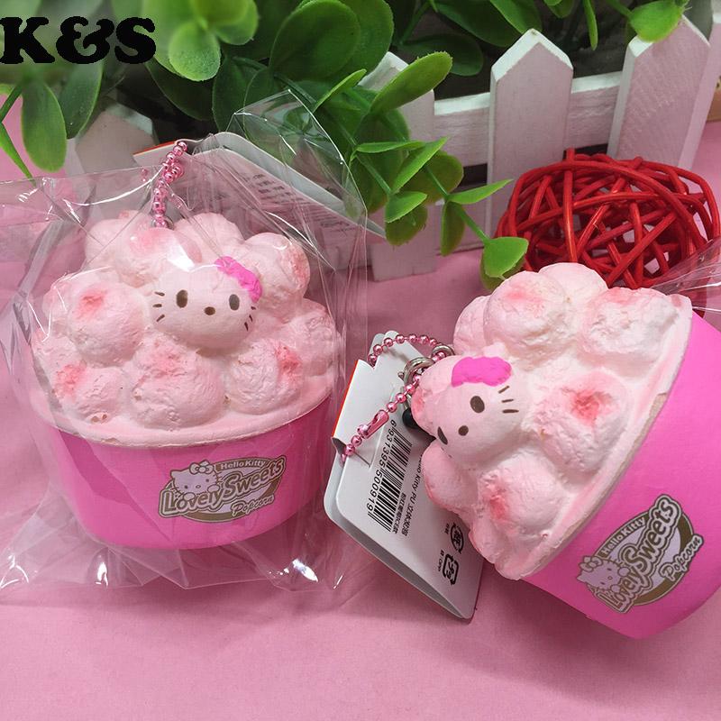 6cm Wholesale Kawaii Squishy Pink Hello kitty popcorn cup Sweet Cute Squishy 5pcs/lot Cell phone bag Charm Strap Squishy 325(China (Mainland))