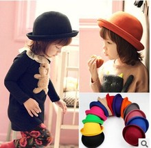 Buy Retail Little girls fedora hat Dome cap Children dress hats Kids caps felt hats wool felting Bowler hat for $3.83 in AliExpress store