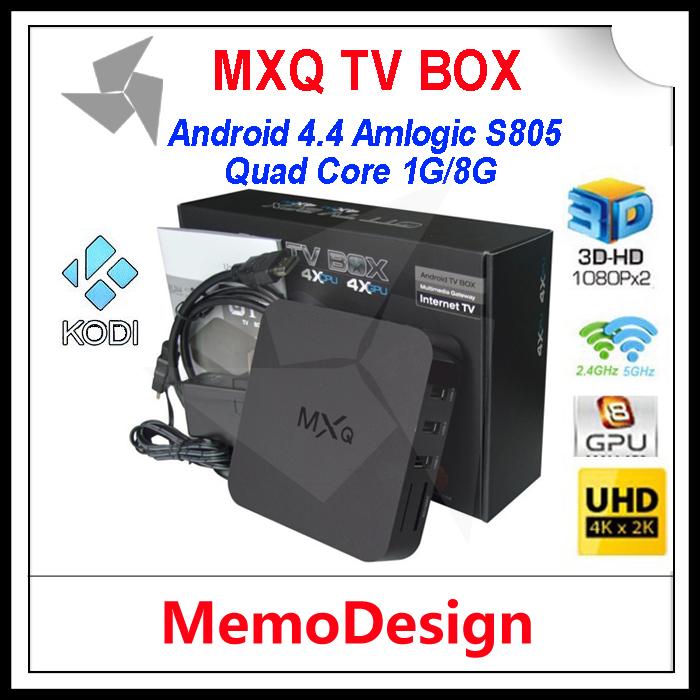 10pcs/lot MXQ Amlogic S805 Android 4.4 Smart TV BOX Quad Core 1GB/8GB Cortex A5 1.5GHZ+Mali-450 Android 4.4 WIFI Media Player(China (Mainland))