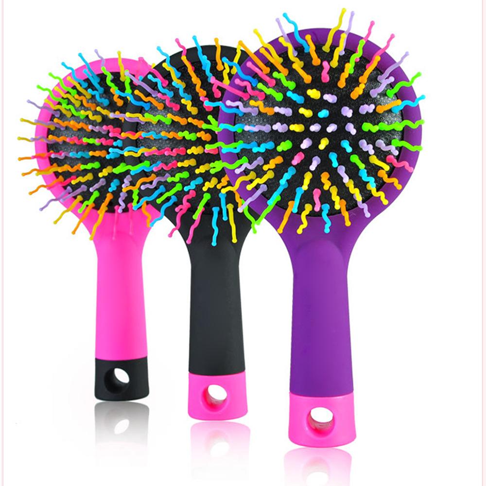 LKE Magic Hair Comb Brush Rainbow Volume Anti Tangle Anti-static Styling Tools Head Massager Hairbrush With Mirror