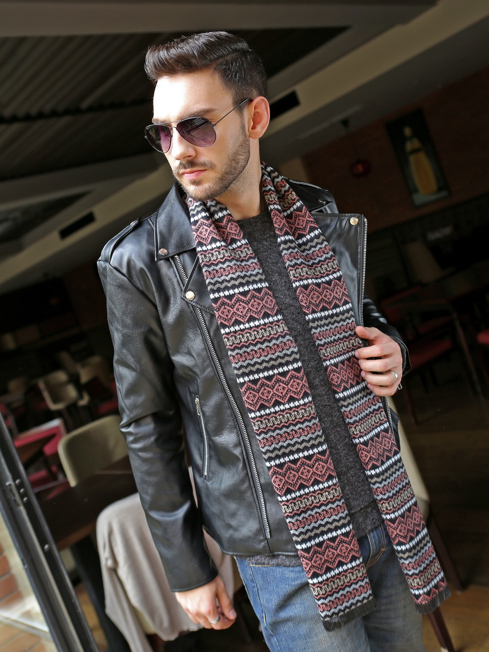 Korean version of the new tide men's scarf Metrosexual British style cotton double thick geometric checkered scarf(China (Mainland))