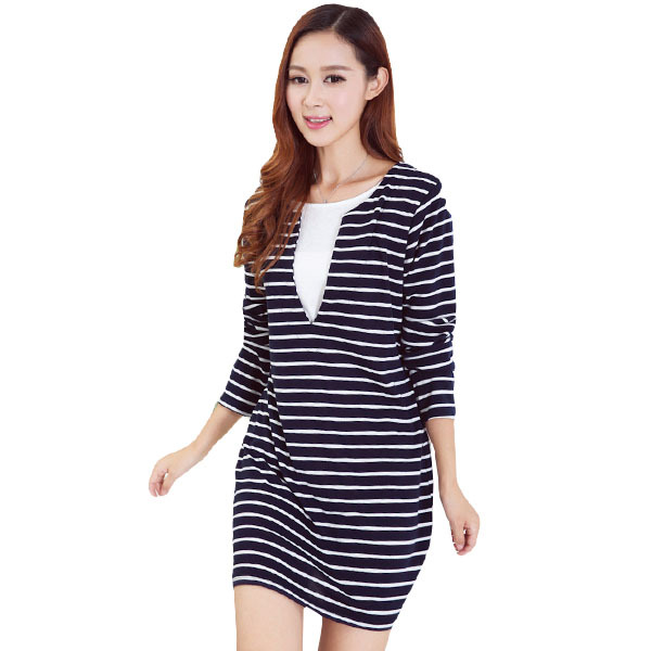 False Two Pieces Cotton Stripe Maternity Dresses Nursing Clothes for Pregnant Women Breastfeeding Dress for Feeding Clothing(China (Mainland))