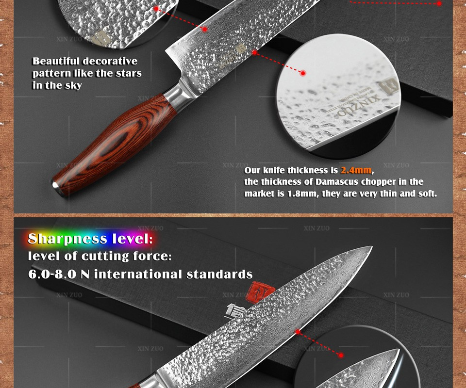 "Buy NEW  8 "" chef knife 73 layers Japanese Damascus steel kitchen knife senior meat/vegetable knife Color wood handle free shipping cheap"