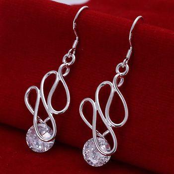 925 jewelry silver plated earrings,925-sterling-silver fashion jewelry,Twisted Stone Earrings E202 /ckfalbma ebnamsua LKNSPCE202