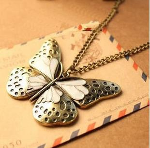 New Hot Sale 30pcs Personality Ancient Butterfly Animal Necklace For Women and Girl Perfect lover's gift Collares Fine Jewelry(China (Mainland))