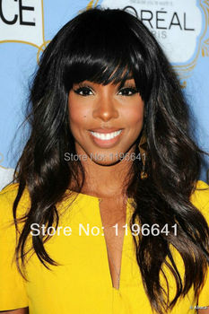 Kelly rowland black wave indian remy hair full lace wigs with bang