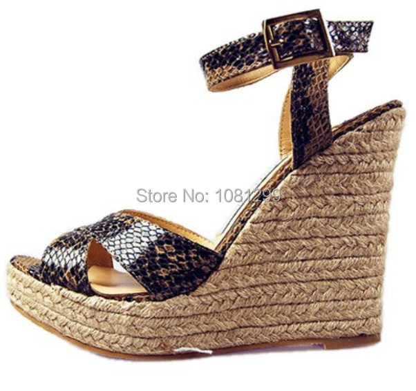 free shipping snake skin hollow out patent leather blingbacks rope platform wedges sandals shoes <br><br>Aliexpress