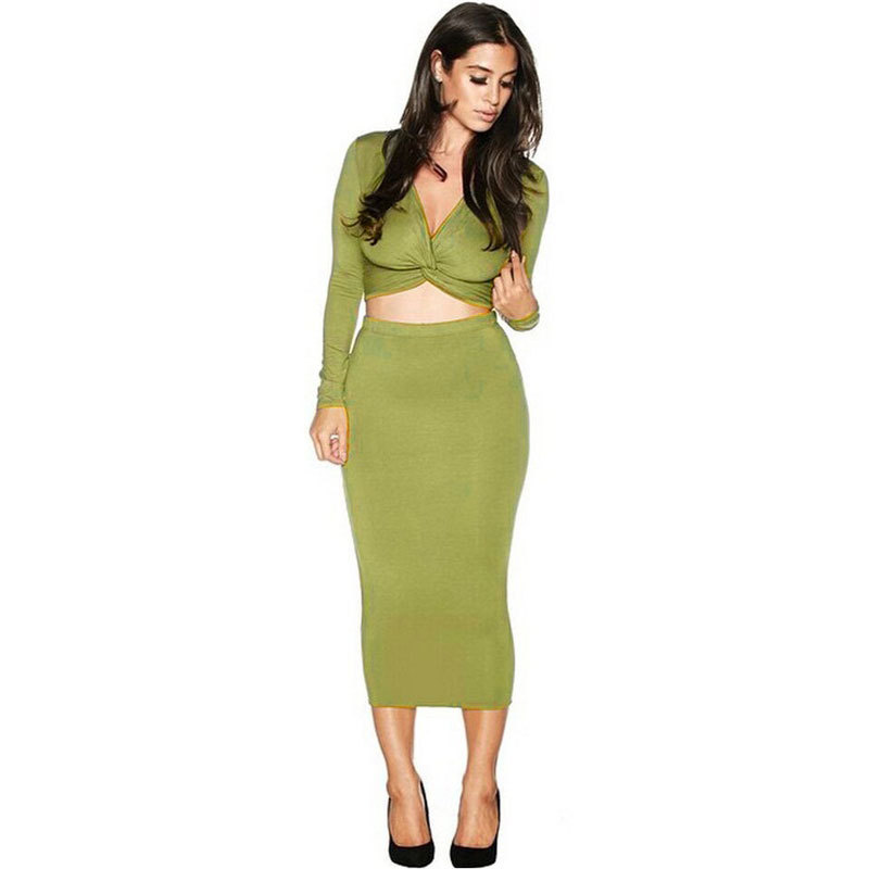 Perfect Women Two Piece Lace Skirt Set Open Back Long Sleeves Sheer Maxi Skirt