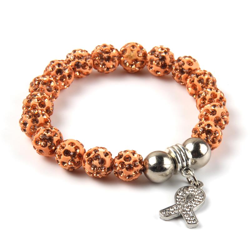2016 New Adult Size 10mm Shambhala Beads sliver plated full crystal Awareness Breast Cancer Ribbon Bracelet Charm woman Jewelry(China (Mainland))