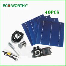 40pcs 6×6 Full Solar Cell Kits 156 Polycrystalline Solar Cells + Tabbing Wire Bus +Soldering Iron+ Flux Pen for DIY Solar Panel
