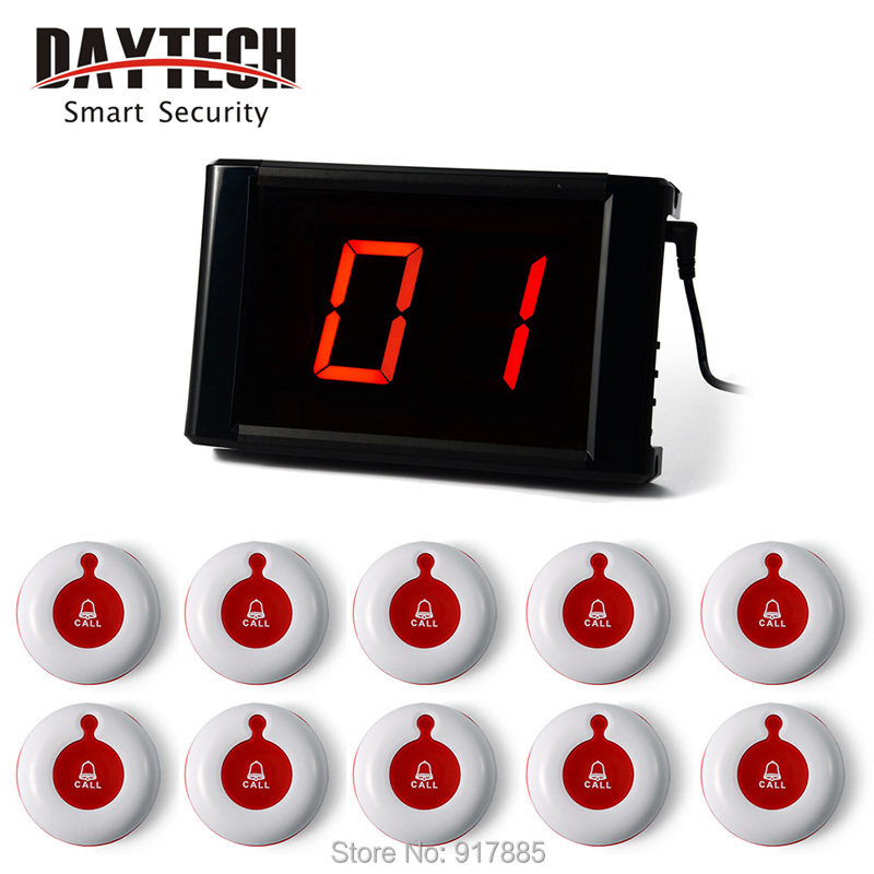 Pager systems for restaurants table Bell Waiter call buzzer System 1 PC panel With 10 pcs Call Button E171 01A