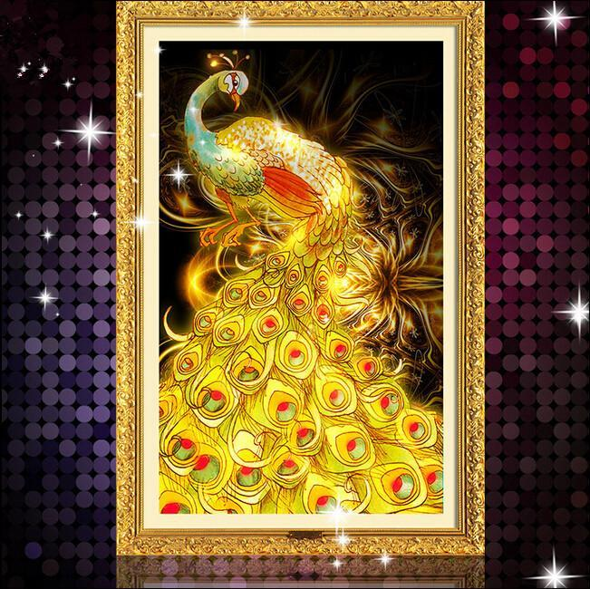 5d round diamond painting mosaic 50x75cm pictures rhinestones new stone cross stitch home decor paint peacock BB007
