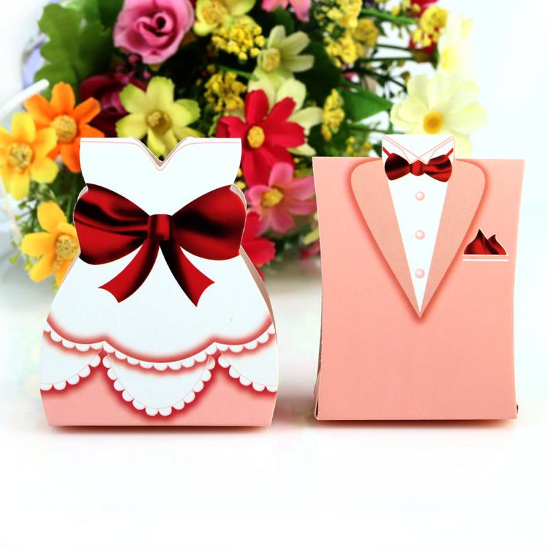 Fashion Pink Bride Groom Tuxedo Dress Gown Wedding Favors Candy Gift Box 50pcs(China (Mainland))