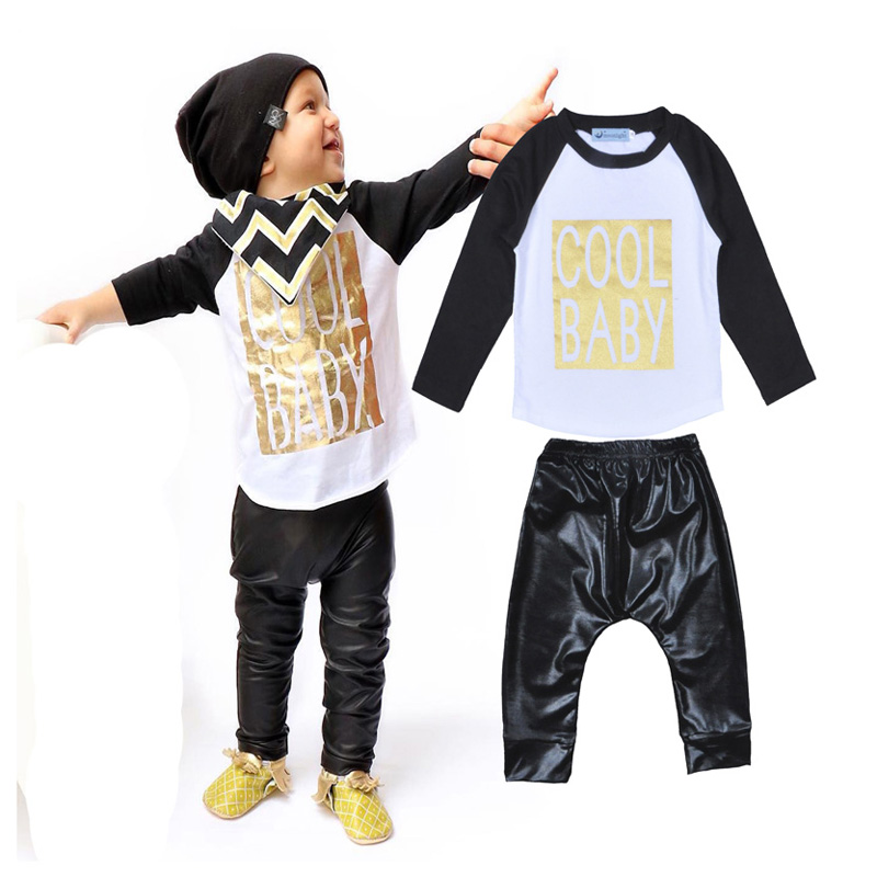 Retail 2016 infant clothes baby boys clothing set COOL BABY Long-sleeved Tshirt + black leather pants 2pcs/set baby boy clothes<br><br>Aliexpress