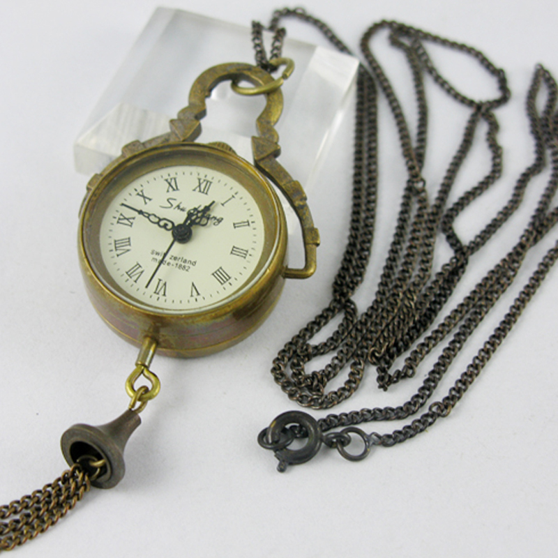 Classical Vintage Fashion Little Clock Copper Pocket Watch Necklace<br><br>Aliexpress