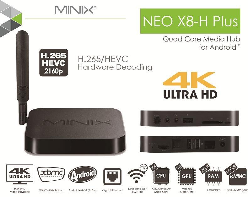 Original Minix NEO X8-H Plus Android TV Box 4K H.265 Decoding Support X8H PLUS Quad Core Smart TV Android 4.4 ULTRA HD XBMC IPTV(China (Mainland))