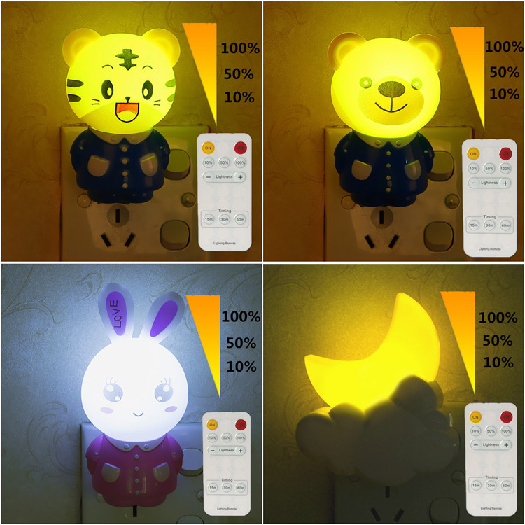 Led Night Light Lamp 0.5W AC220V With Remote Control Dimmer timed Baby Nightlight Cartoon For Children Bedroom, Passageway(China (Mainland))