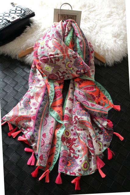 Оптовая продажа торговля оригинальный одного нового зимнего шарфы акк кешью цветы бахромой шелковый платок оптовая продажа лед шелковые шарфы