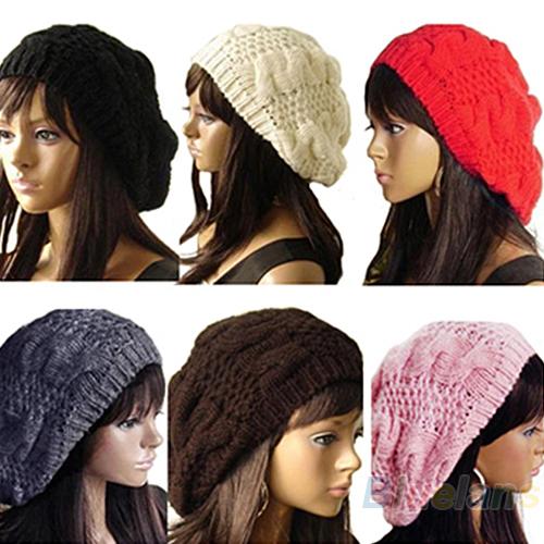 2013 New Fashion Women's Lady Beret Braided Baggy Beanie Crochet Warm Winter Hat Ski Cap Wool Knitted Free Shipping 00LO(China (Mainland))