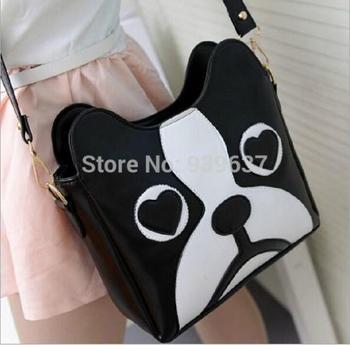 2015 New /Black and white hit color /tide bag /retro fashion handbags women / sweet cartoon cute little dog pack / free shipping