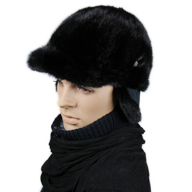 Free Shipping 2013 Winter New Arrival Men's Mink Fur Hat Male Mink Protect Ear Peaked Cap Adjustable Black Brown