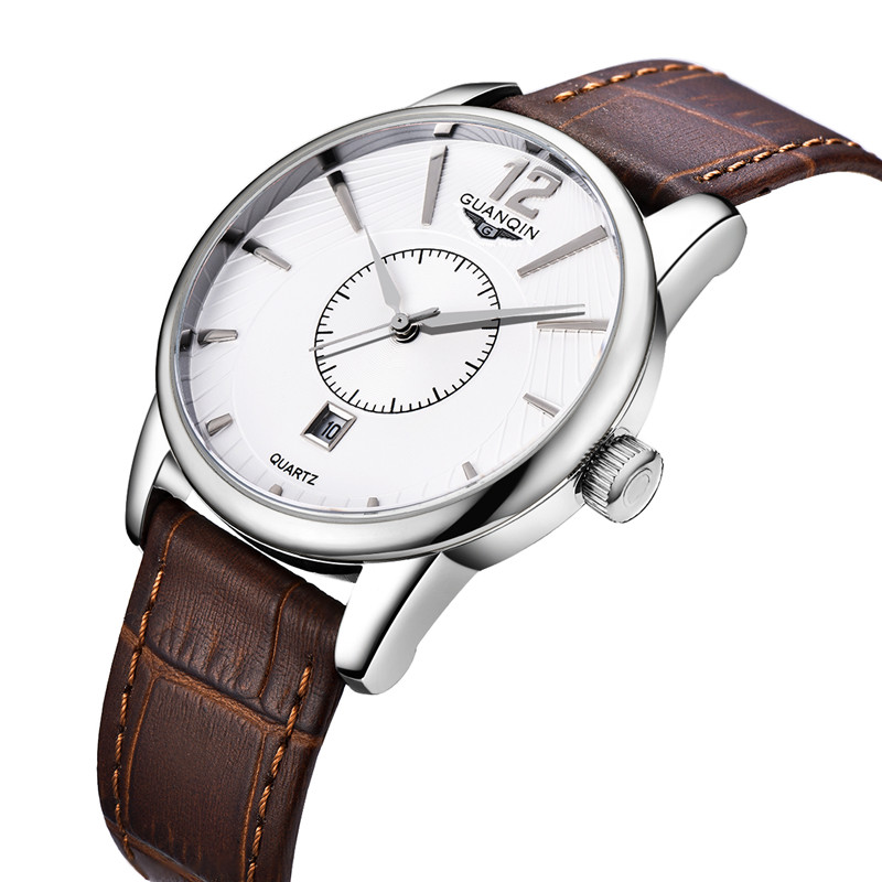2016 New Men Quartz Hour Date Clock Men Casual Sports Watches Men Leather Wrist Military Watch Brand GUANQIN Relogio Masculino<br><br>Aliexpress