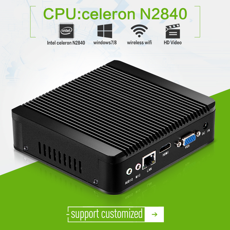 MAC computer xcy x30 N2840 2.16ghz with 2g ram1*LAN with wifi with windows7 fanless aluminum alloy for mini design office pc(China (Mainland))