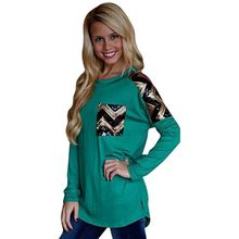 Stylish Women Sequins Decor Casual Pullover Top Long Sleeve Loose Patchwork T-Shirt(China (Mainland))
