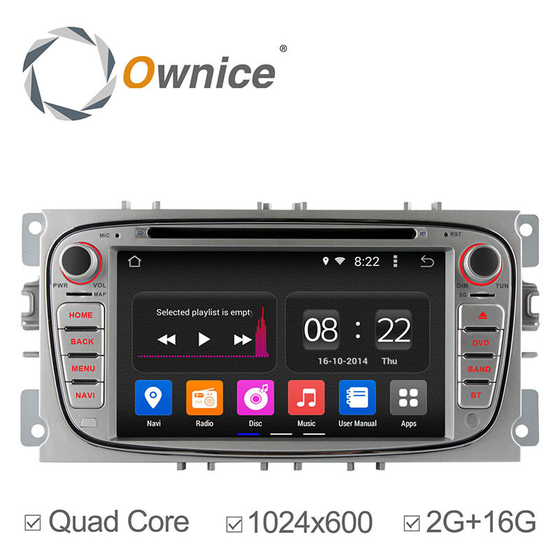 Ownice Quad Core PU Cortex A9 1.6GHz Android 4.4 PC Car DVD Player For Ford Focus Smax Mondeo GPS Radio Stereo Canbus 1024*600(China (Mainland))