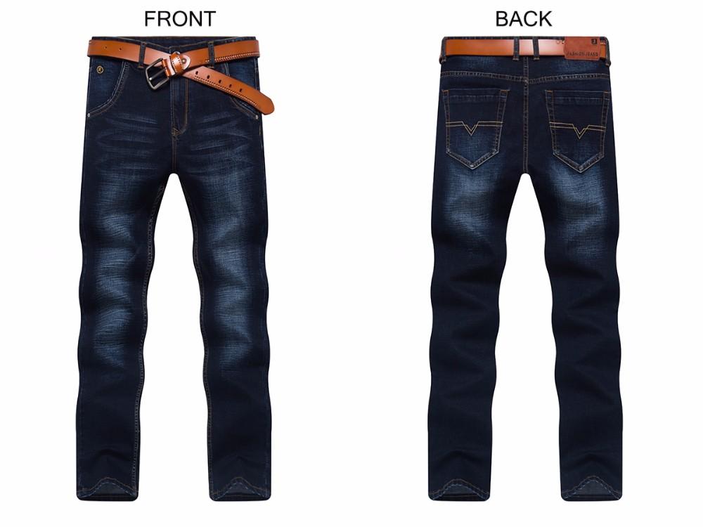 Скидки на Мужская Тонкий джинсы повседневная стиль резки узкие брюки темно-синий Размер 40