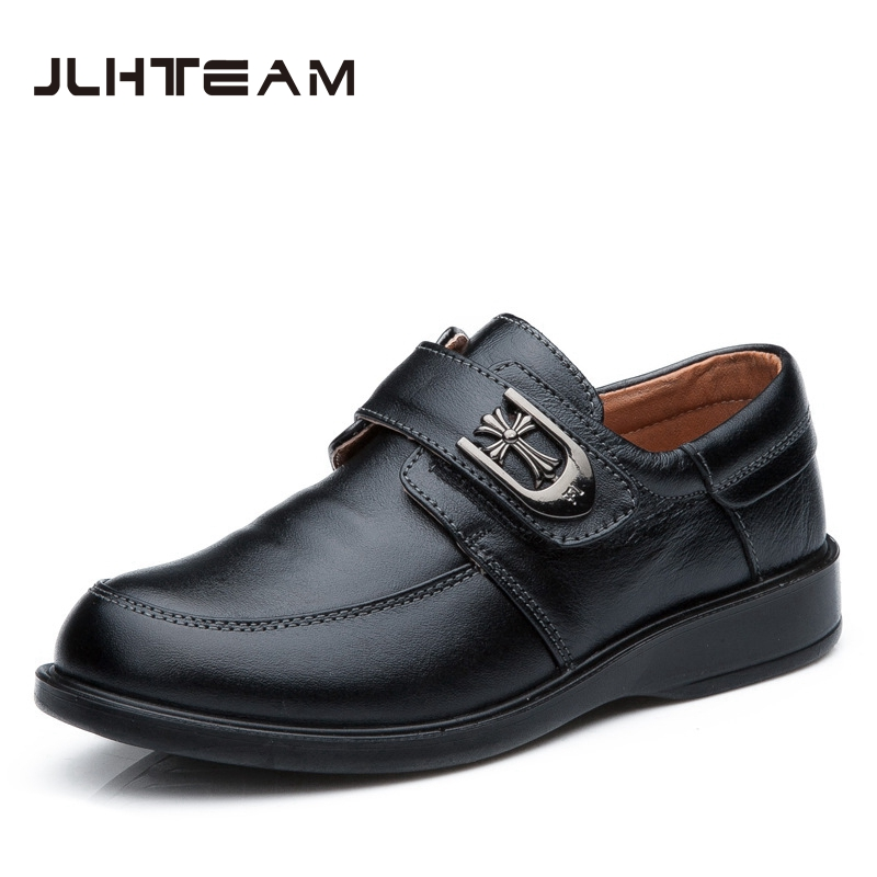2017 New Children Leather Shoes For Boys Dress Shoes Black Flat Dancing Lace Up PU Genuine Leather School Students Shoes JLH