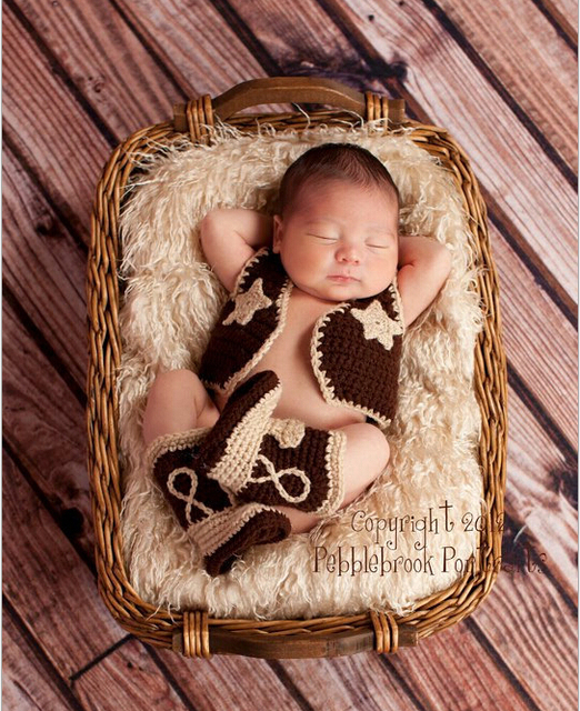 2015 Baby clothing Cowboy Boots and Vest Set Crochet Pattern Infant Costume Outfit ...