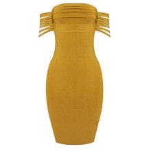 Лето 2017 г. Новый Женщины платье с коротким рукавом slash шеи бинты сексуальное обтягивающее платье знаменитости вечерние желтые платья vestidos о...(China)