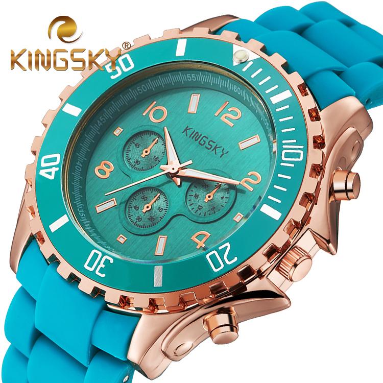 2016 Summer Fresh Lake Blue Ice Cream Women Kingsky Lovely Watch Big Macarons Style Plastic Brand Wristwatch Analog Accessory(China (Mainland))