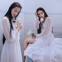 Buy Girls Fairy Chiffon Dress Womens White Dresses Long Lantern Sleeve Fantasy Princess Maxi Elegant High Floor Length Dress for $16.99 in AliExpress store